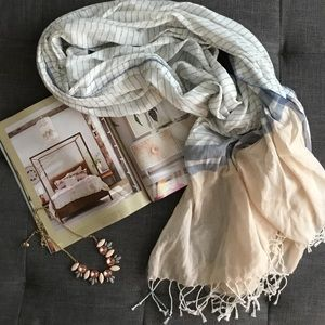 Beautiful Lightweight Scarf with Tassels & Stripes